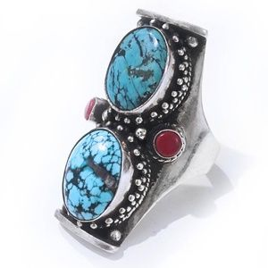 Turquoise and Coral Silver Long Finger Ring